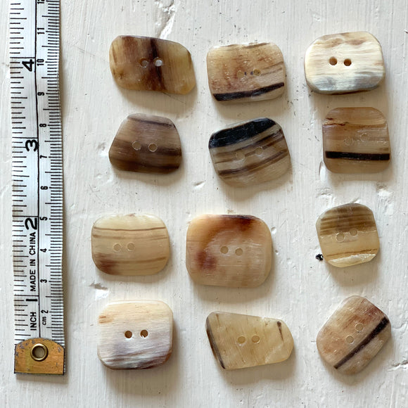 Icelandic Sheep Horn Button - Rectangular, multi colored