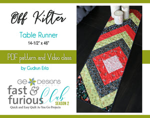 Off Kilter Table runner - Pattern and video class
