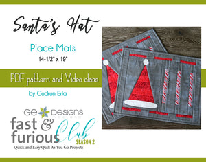 Santa's Hat Place Mats - Pattern and video class