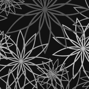 "Star Flower Black/Grey 108"" Wide - 3 YARD"