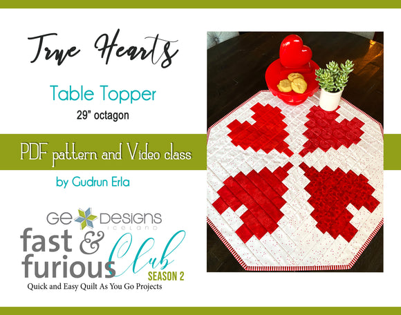 True Hearts Table Topper - Pattern and video class