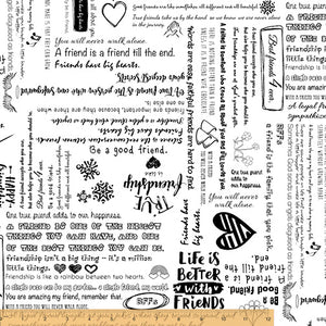 "Friendship on White 108"" Wide - 1 YARD"