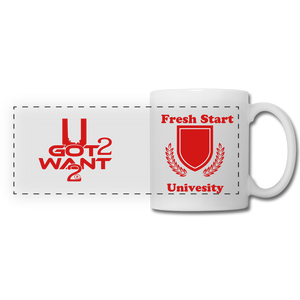 U Got 2 Want 2 Panoramic Mug White and Red - University - white