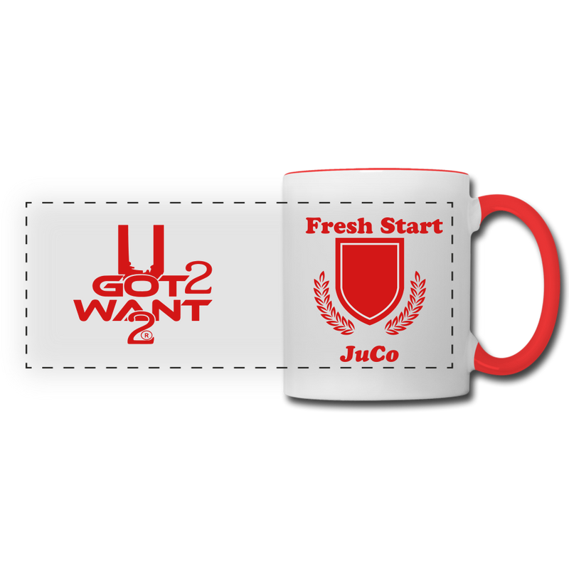 U Got 2 Want 2 Panoramic Mug White and Red. - white/red