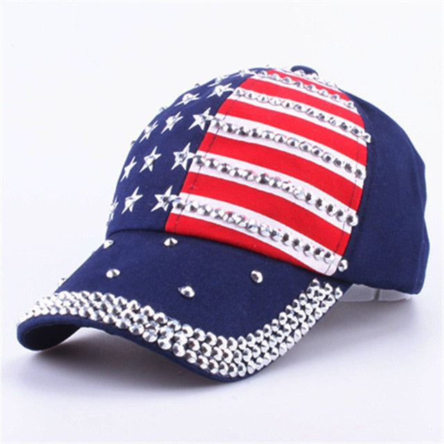 The American Flag Bling Out Baseball caps - Midwest 2 U