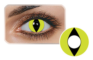 YELLOW CAT EYES Halloween SFX Crazy Color Contact Lenses A10