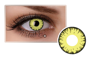 YELLOW BURST Halloween SFX Crazy Colored Contact Lenses A25