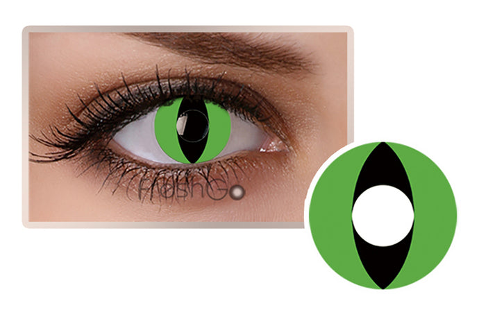 GREEN CAT EYES Halloween SFX Crazy Color Contact lenses A7