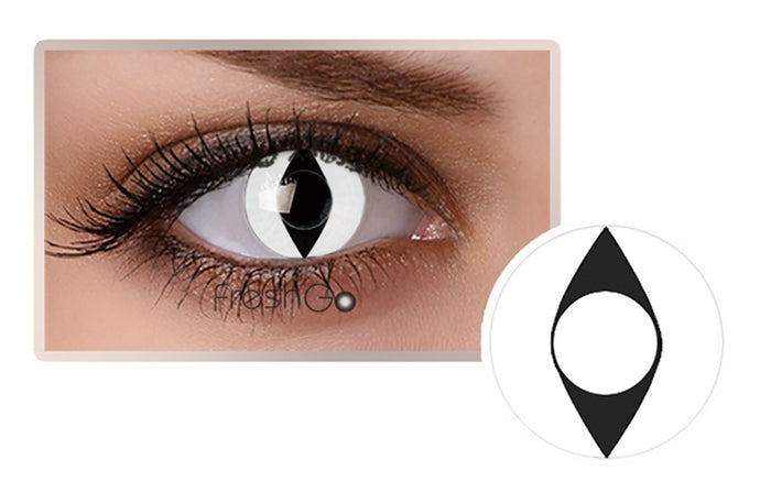 WHITE CAT EYES Halloween SFX Crazy Color Contact Lenses A8