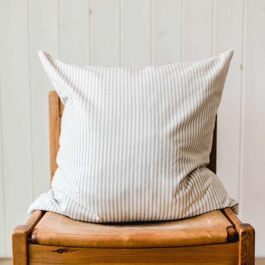 Ticking Stripe Accent Pillow - Grey