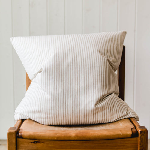 Ticking Stripe Accent Pillow - Beige