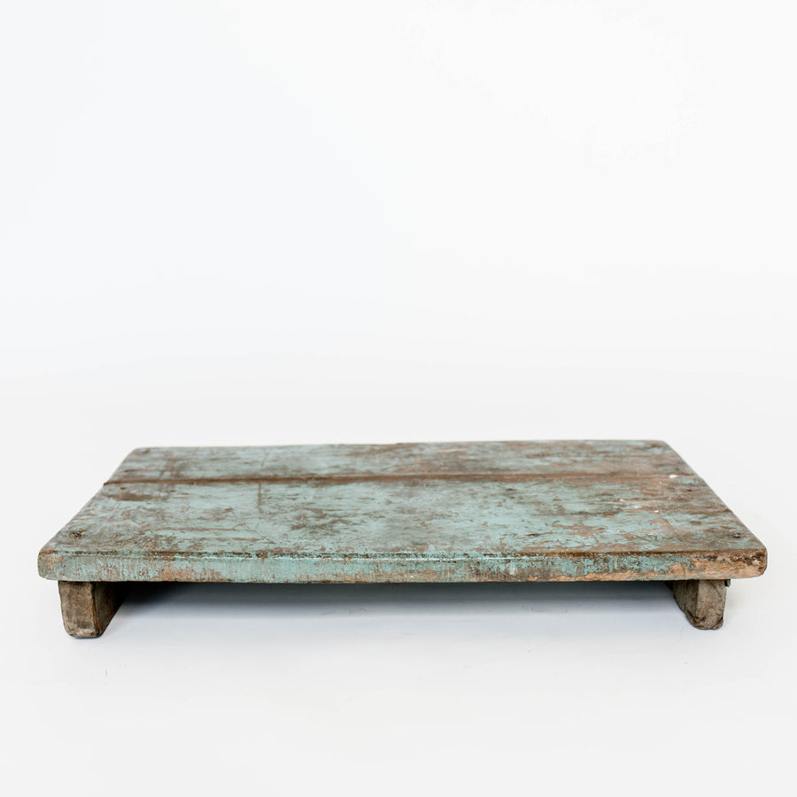 Wood Riser Distressed Aqua