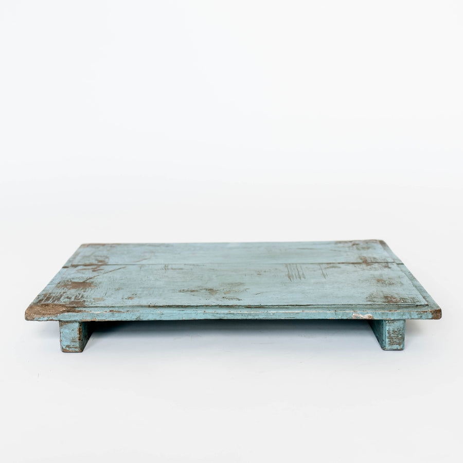 Wood Riser Distressed Cyan