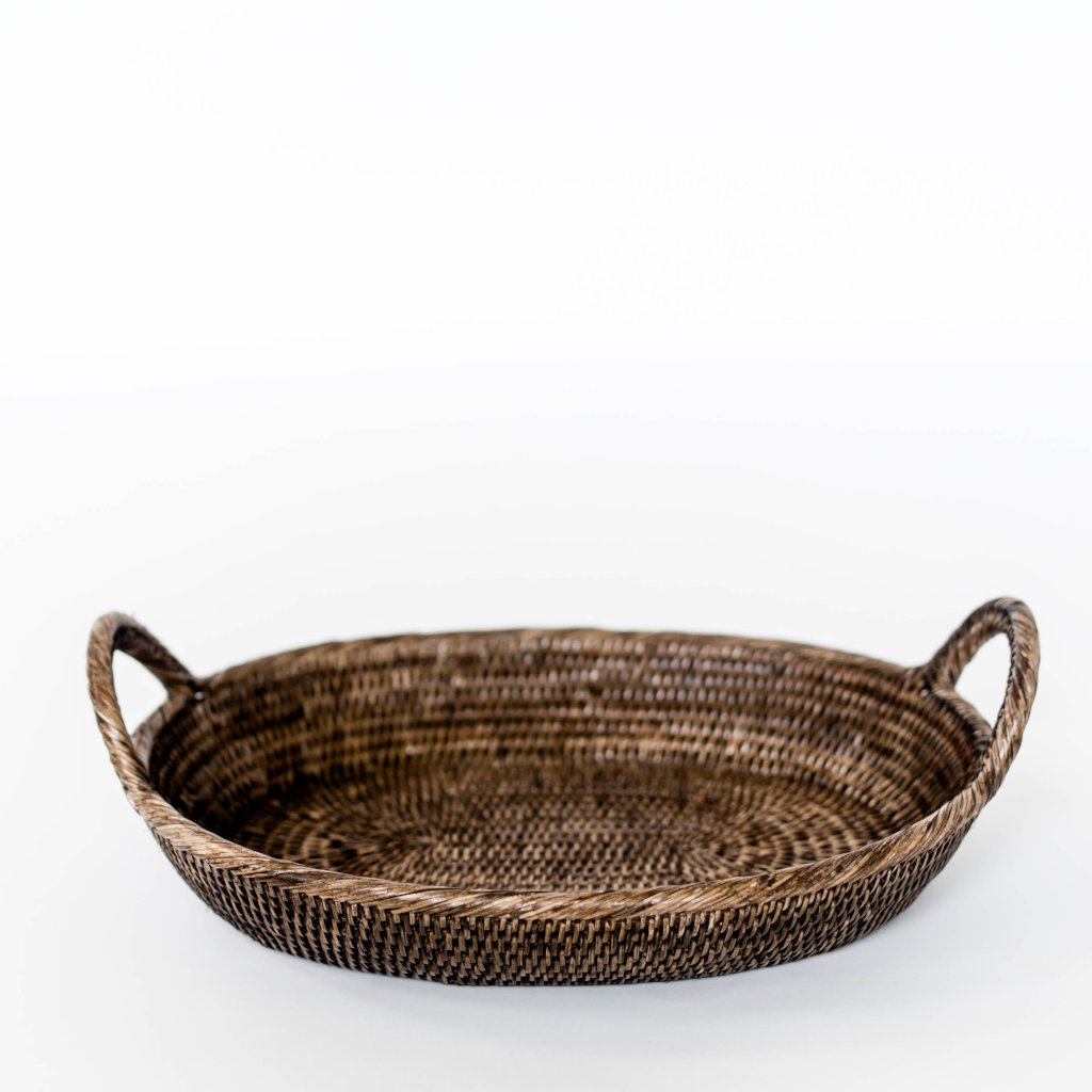 Oval Rattan Serving Tray
