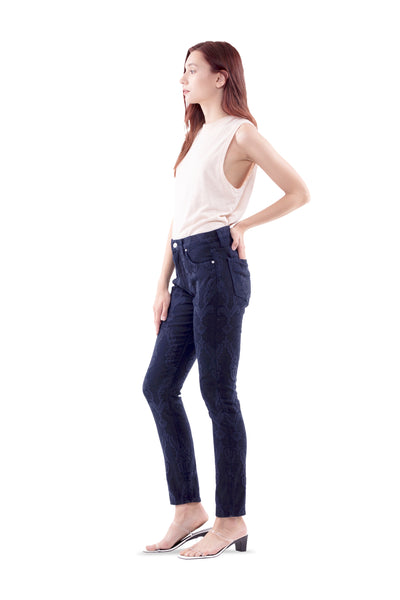 Ally High Rise Tapered Jeans in blu Jacquard