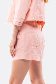Brendan High Rise Pleated Shorts in Creamsicle