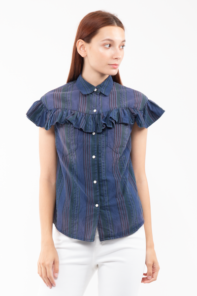 Emma Ruffled Shirt in Chai