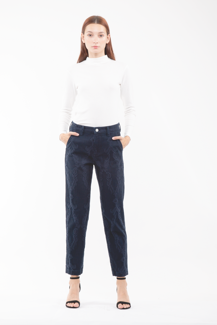 Grace Jacquard Trouser in Navy
