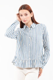 Heather Ruffled Button-down