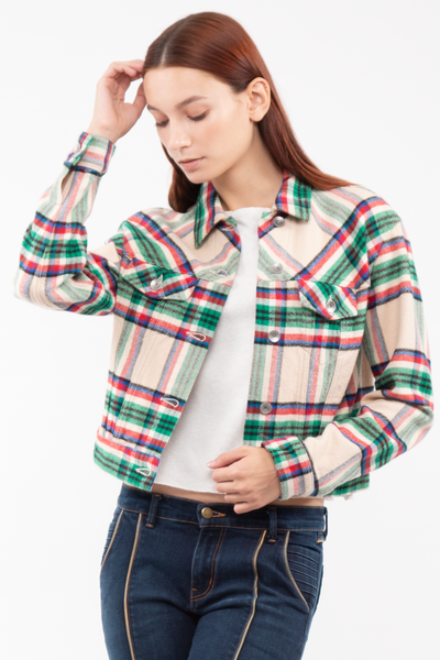 Kathleen Box Crop Jacket in Plaid