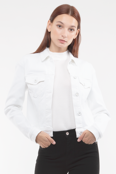 Kathleen Box Crop Jacket in White