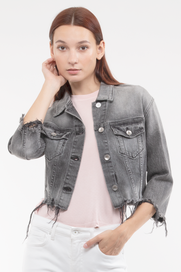 Kathy Box Crop Jacket Destroyed in Smoulder