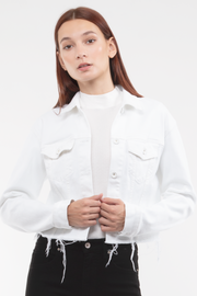 Kathy Box Crop Jacket Destroyed in White