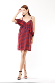 Melissa Asymmetrical Frayed dress in Tea