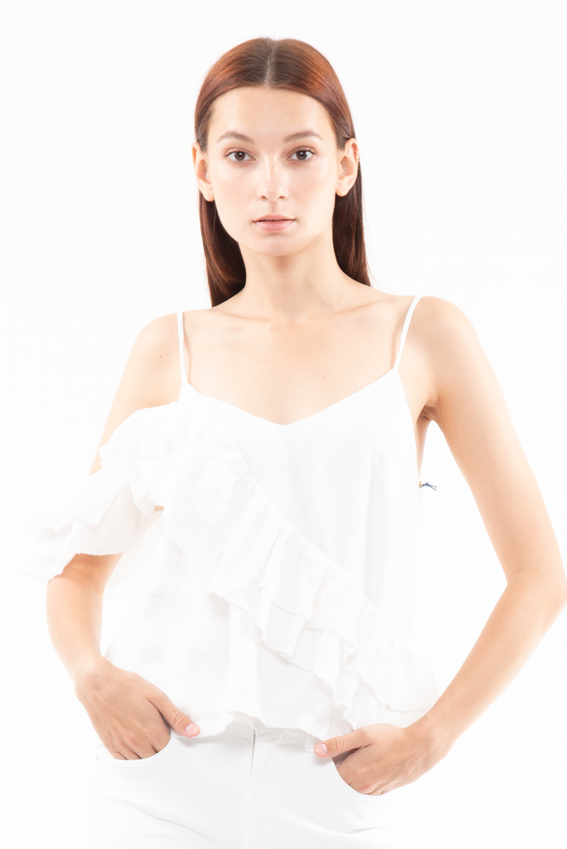 Olivia Assymetrical Frayed Tank in Cream