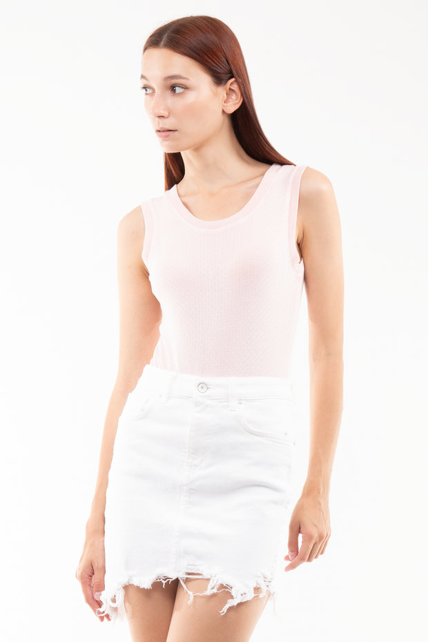 Riley High Rise Skirt Destroyed in White