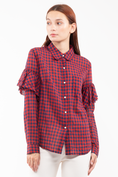 Sophia Frayed Sleeve Buttondown in Tea