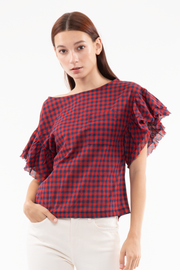 Wynona Frayed Sleeve Top in Tea
