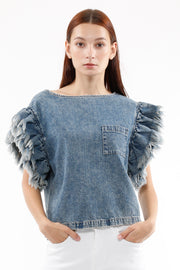 Wynona Frayed Sleeve Top in Valley
