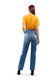 Sofia High Rise straight destroy Jeans Rigid in rise