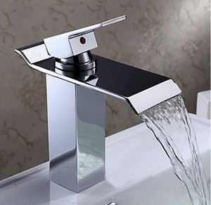 Bathroom Basin Sink Faucet Waterfall Widespread Chrome Polish Tap