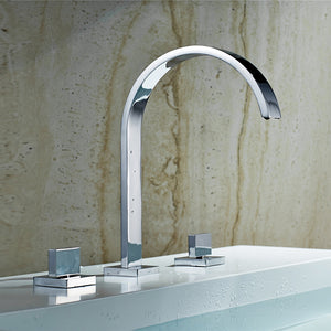 High Quality Polished Chrome Double Handle Bathroom Taps
