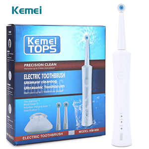 Rotating Waterproof Rechargeable Electric Toothbrush with 2 Heads