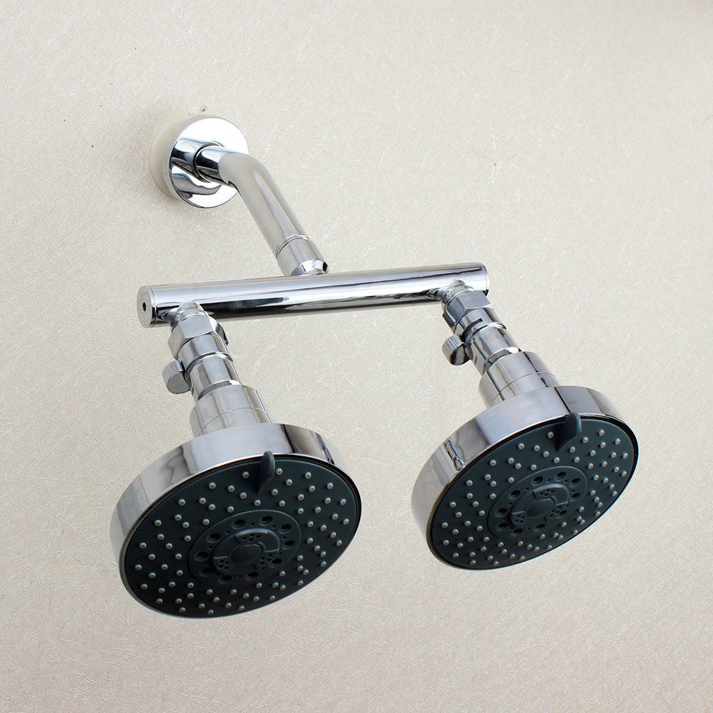 Dual Shower Head With Fixed Shower Heads Finished in Chrome