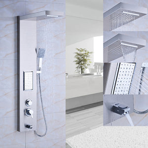 Thermostatic Rain Waterfall Shower Panel Stainless Steel