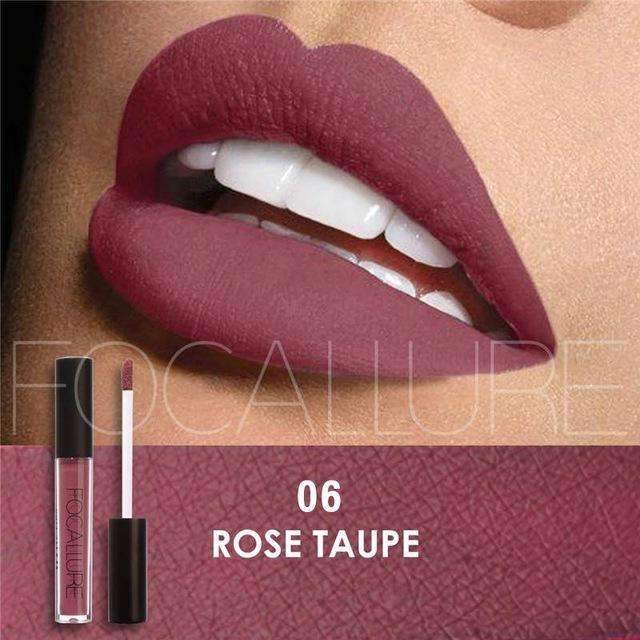FOCALLURE #06 ROSE TAUPE  | Waterproof Matte Lip Gloss Liquid Lipstick Moisturiser