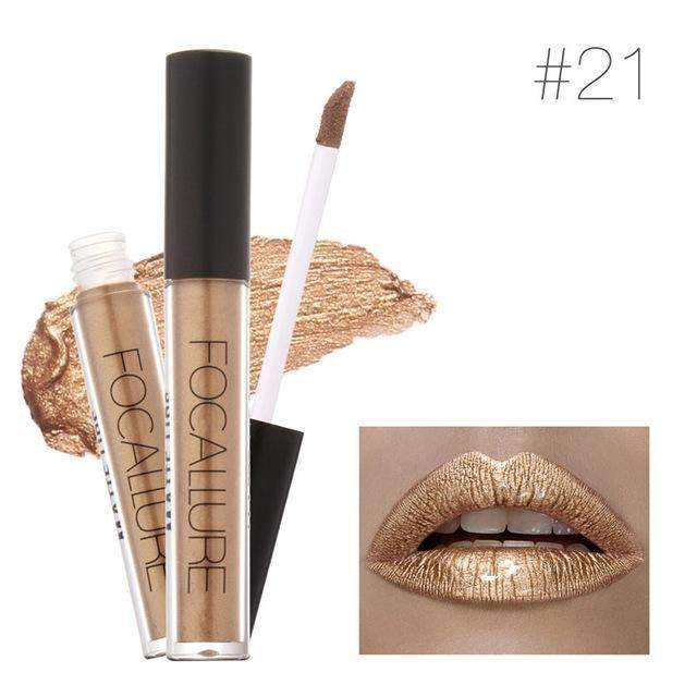 FOCALLURE METALLIC #21  | Waterproof Metallic Lip Gloss Liquid Lipstick Moisturiser