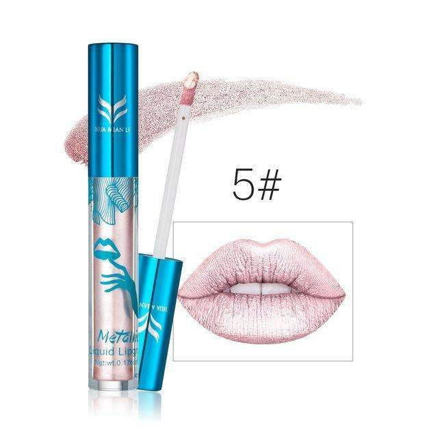 HUAMIANLI METALLIC #05 | Waterproof Metallic Lip Gloss Liquid Lipstick Moisturiser