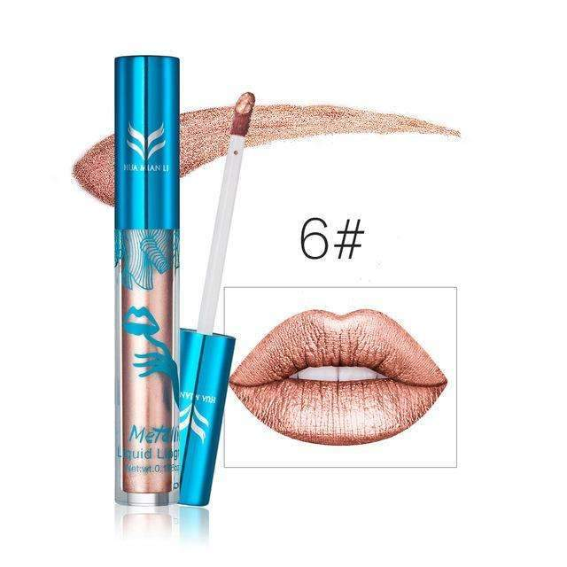 HUAMIANLI METALLIC #06 | Waterproof Metallic Lip Gloss Liquid Lipstick Moisturiser