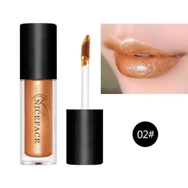 HUAMIANLI NICE FACE #02  | Waterproof Metallic Lip Gloss Liquid Lipstick Moisturiser