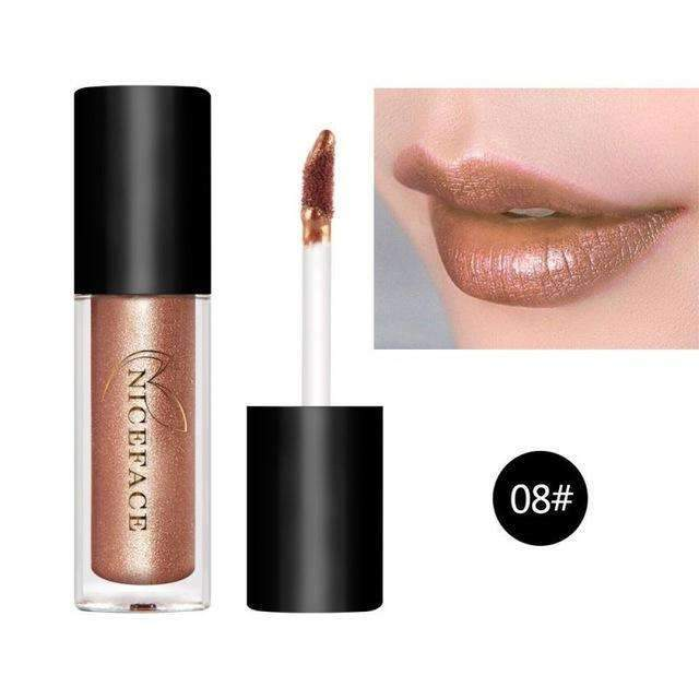 HUAMIANLI NICE FACE #08  | Waterproof Metallic Lip Gloss Liquid Lipstick Moisturiser