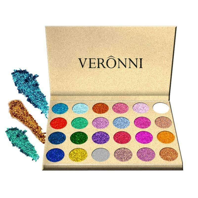 VERONNI - 24 Colors Sexy Diamond Rainbow Cosmetic Eye Shadow Magnet Palette Glitter Pressed Glitters Single Eyeshadow Make Up