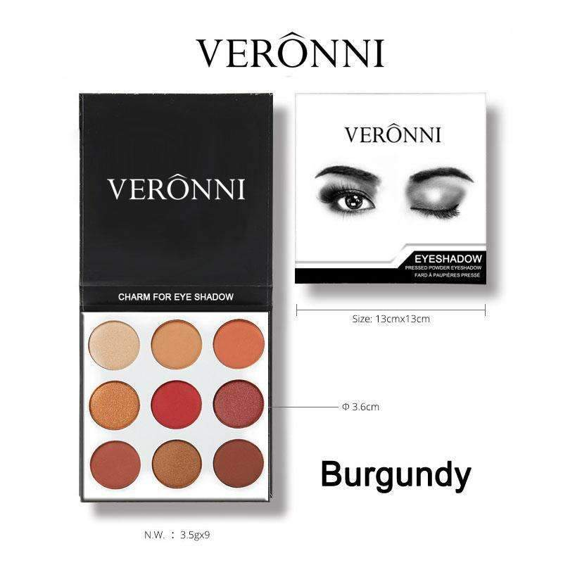 VERONNI  BURGUNDY PALETTE KYSHADOW | Full Professional Makeup Cosmetics