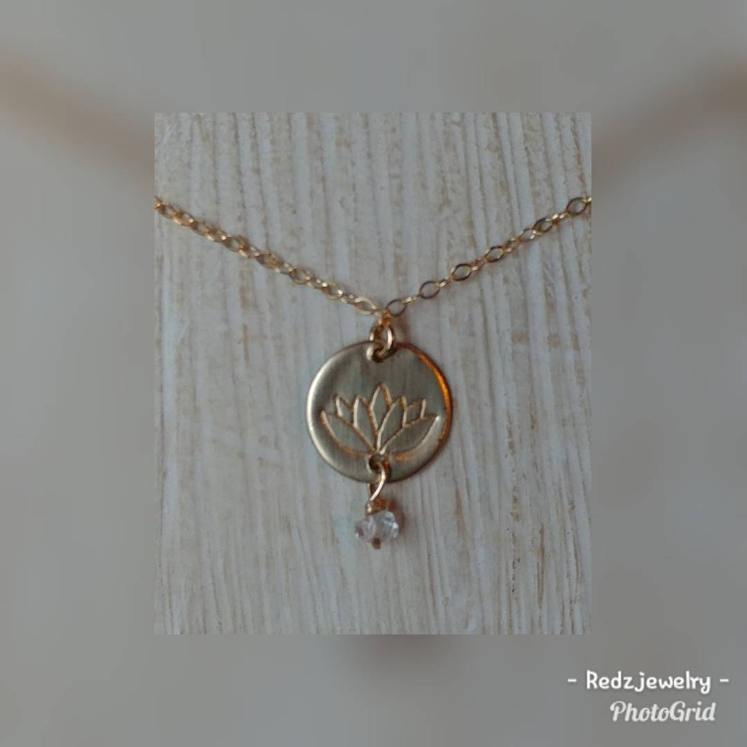 Customizable lotus flower coin necklace with herkimer diamond redz customizable lotus flower coin necklace with herkimer diamond izmirmasajfo Images