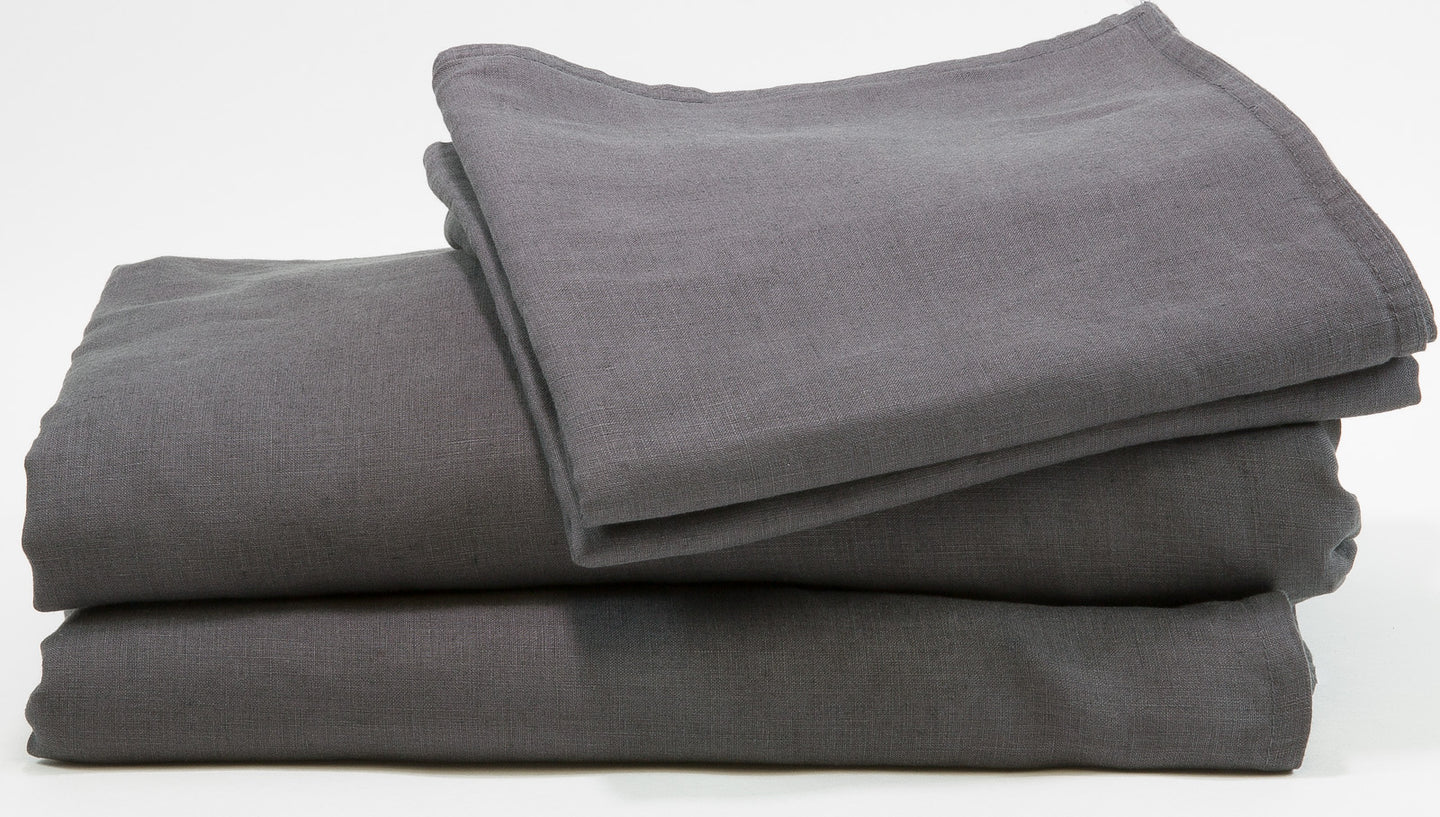 French Flax Linen Bed Sheet Set - Charcoal