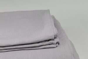French Flax Linen Bed Sheet Set - Dove Grey